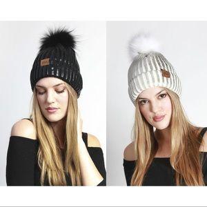 Ladies Metallic Knit Winter Hat W Fur Pom